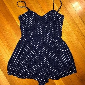 Navy polka dot Urban Outfitters romper size S